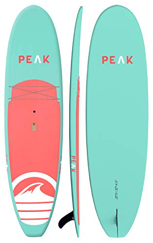 "Peak Navigator Rigid Epoxy Stand Up Paddle Board & SUP Bundle Accessory Pack — Rigid Board with Lightweight Foam Core — 300 Pound Capacity, 10'5"" Long x 32' Wide x 4.5"" Thick (Aqua)"