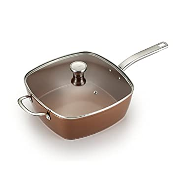 T-fal C4119564 Copper Ceramic Nonstick Dishwasher Safe Oven Safe Cookware Saute Pan Square Pan, 7-Quart, Copper