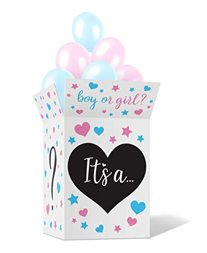 Gender Reveal Box with Sealing Stickers  Fun Baby Boy and Girl Party Supplies Games Activities Props and Decorations  Large Pink and Blue Cardboard Box Balloons Not Included