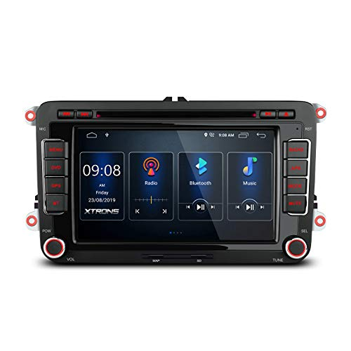 XTRONS Android 10 Car Stereo Radio DVD Player 7 Inch Touch Screen GPS Navigation Built-in DSP Bluetooth Head Unit Supports Full RCA Backup Camera OBD2 DVR TPMS for VW Volkswagen Golf Compatible Passat