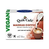 Quik Cafe Vegan Instant Coffee Latte - 10 Count Single Box - Convenient, Easy Dairy Free Alternative - All Natural Non GMO
