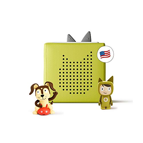 Toniebox Starter Set Green + Playtime Action - Educational Musical Toy for Boys and Girls - Imagination-Building, Screen-Free Digital Listening Experience That Plays Stories, Songs, and More