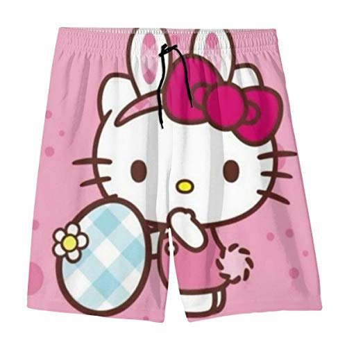 Hello Kitty Teenager Shorts Boy and Girl Swimming Shorts Mesh Lined Beach Pants-X-Large White