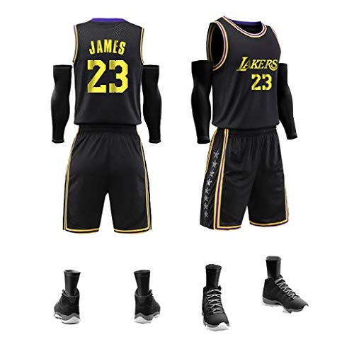 Kinder Jungen Mädchen Männer Erwachsene Lebron James # 23 LBJ LA Lakers Retro Basketball Trikots Sommer Anzüge Kits Top + Shorts 1 Set-Black-L