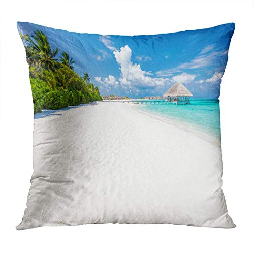 Yaxinduobao Bed Pillows Loft Pillow 18 x 18 inches Wide Sandy Beach On Tropical Island Polyester Soft Square for Couch Sofa Bedroom