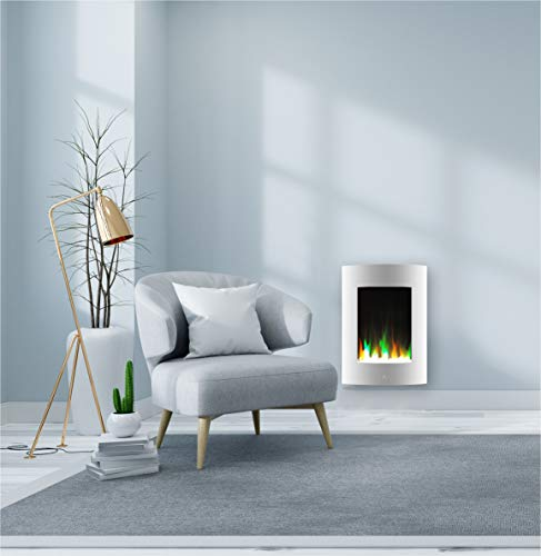 Cambridge CAM19VWMEF-1WHT 19.5 In. Vertical Electric Fireplace in White with Multi-Color Flame and Crystal Display