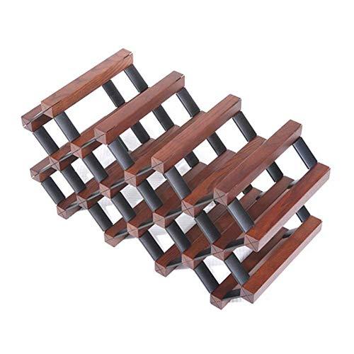LXD Botellero, 11 botellas conjunto del portador se pueden superponer solidos estantes de exhibicion de madera, 6 colores,Ceniza de color avellana