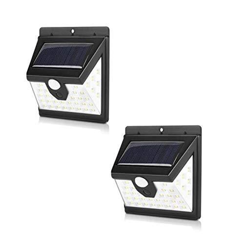 Luminária Energia Solar Parede garagem 40 Leds Sensor Presença 3 Funções Lampada 2 unidades