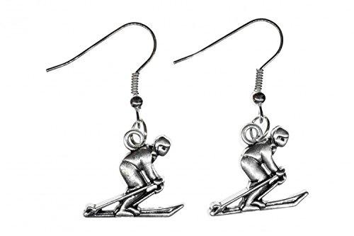 Les bâtons de ski skis Skiohrringe Miniblings skieurs d'hiver Ski - Bijoux Fashion main argenté Boucles d'oreille Boucles d'oreille