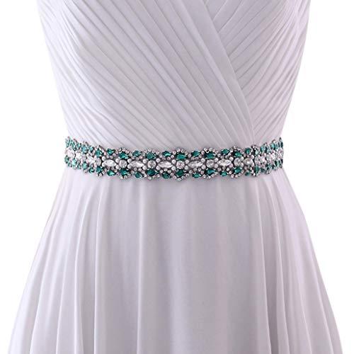 Azaleas Banda para vestido de novia para mujer, cinturón de estrás, vestido de noche, banda de flores para vestido de boda (S466) verde oscuro Talla única