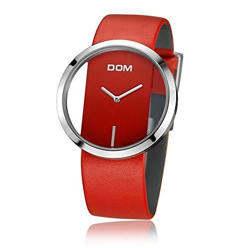 DOM- Damen Unisex Armbanduhr Quarz modisch Zeitloses Gold Nylon Minimalismus Dünn Elegant Luxusuhr Lederarmband