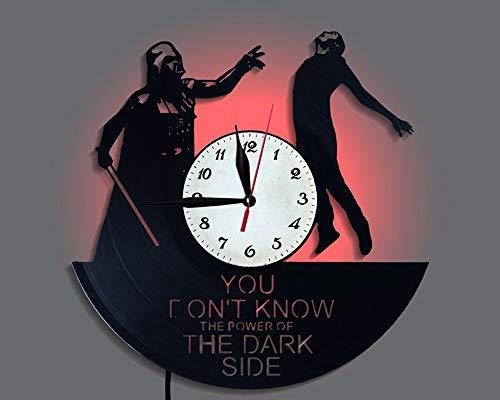 LittleNUM Disco de Vinilo Reloj de Pared Creativo Reloj de Pared de decoración del hogar Star Wars Reloj de Pared del LED con Control Remoto inalámbrico Reloj de Pared por Fans de Star Wars,Styleb