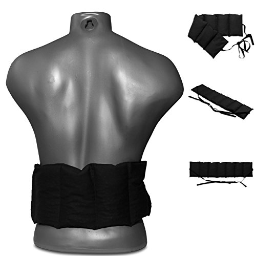 Bio-Dinkelkissen 7-Kammer mit Band, 65x15 schwarz. Wärme-Gürtel, langes Kissen zum Binden, Rücken