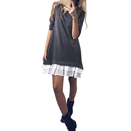VENMO Mode Frauen Lange beiläufige Lange Ärmel Pullover Kleid Damen Pullover Kleider Winterkleider Kleid Strickkleider Langarm Mode Stricksweat Strickpullover Lose Sweatkleid Minikleid (Gray, L)
