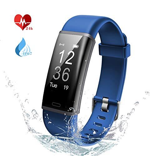 Lintelek Fitness Tracker, Heart Rate Monitor, Activity Tracker IP67 Waterproof, Sleep Monitor Remote Camera, Multiple Sports,Pedometer, Smart Watch for Kids Women and Men