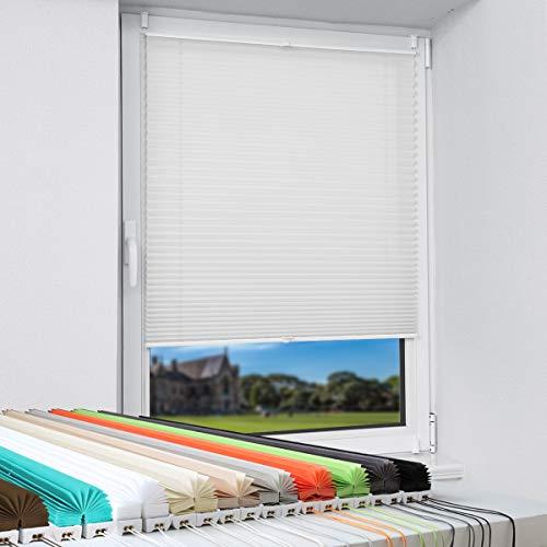 Magiea Plissee Klemmfix Plisseerollo ohne Bohren Faltrollo Jalousie (Weiß 90x100) Klemmrollo Fensterrollo Blickdicht Sonnenschutz und Sichtschutz Rollo für Fenster & Tür
