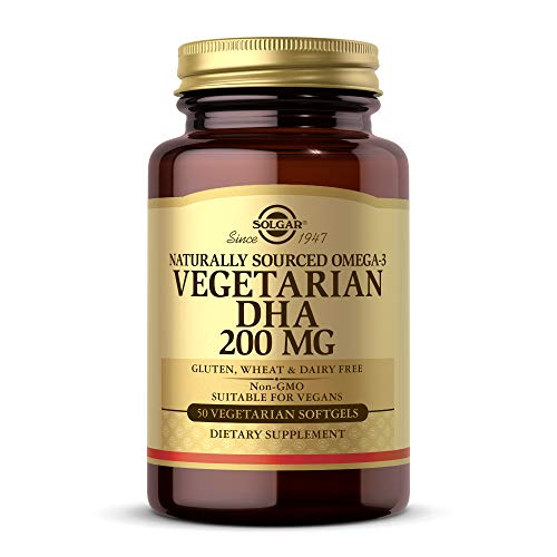 Solgar Omega-3 Vegetarian DHA 200 mg Vegetarian, 50 Softgels - Support for Cardiovascular, Joint & Skin Health - Contains DHA-Rich Algal Oil - Vegan, Gluten Free, Dairy Free - 50 Servings