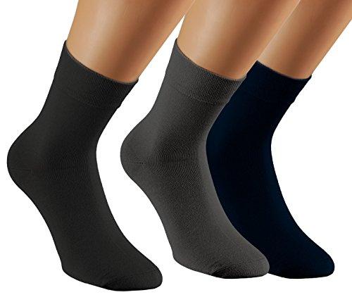 Vitasox 43011 Damen Herren Socken Bambus Kurzschaftsocken ohne Gummi schwarz anthrazit marine 39/42