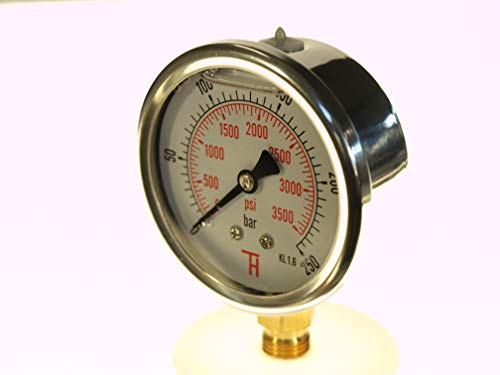 THERMIS Manometer 304G 1/4 Anschluss von unten (0 – 250 bar) 63 mm