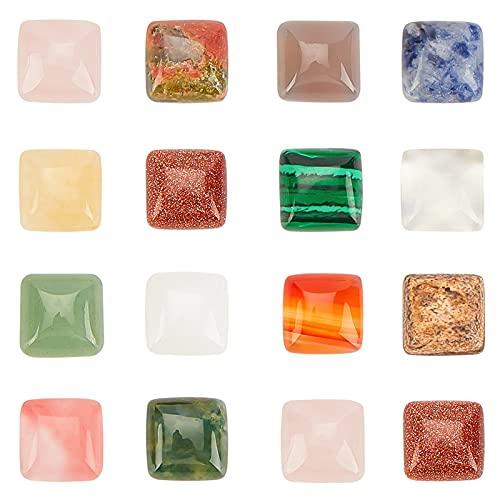 PandaHall 28 cabujones de piedras preciosas de 14 estilos, piedras preciosas cuadradas de 10 mm, cuentas planas de piedra de ágata de cristal, piedras pulidas, cabujones para hacer joyas