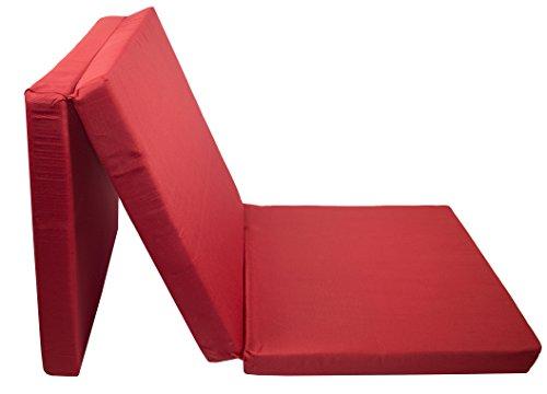 ZOLLNER Gästematratze, faltbar, PU-Schaumkern, 65x195 cm, 8 cm Höhe, rot