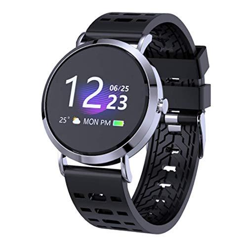 RHBKW Fitnesstracker slaapmonitor Smart Watch Anti-verloren Bluetooth sporthorloge met weersvoorspelling wekker voor wandelen fietsen voetbal, zilver