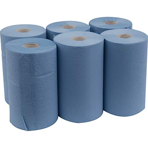 newpo Putzpapier-Rolle | 100% Zellstoff | 6 Rollen | Dreilagig | Reinigungstücher | Wischtücher | Papiertuch