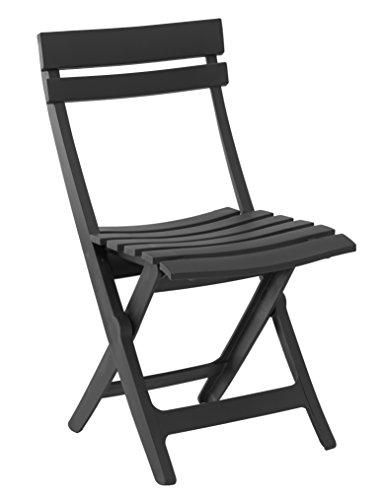 Grosfillex Miami Silla Plegable, Antracita, 42 x 9 x 93 cm
