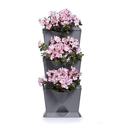 minigarden 1 Juego One para 3 Plantas, Jardín Vertical Modular y Extensible, Colocar en el Suelo o Colgar en la Pared, Mecanismo de Drenaje Innovador, Largo Ciclo de Vida (Gris)