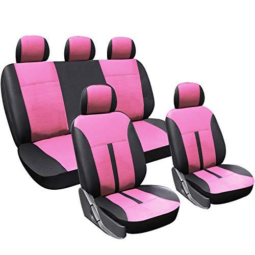 WOLTU AS7288pk Sitzbezüge Auto Schonbezüge universal Größe, Kunstleder, schwarz-pink