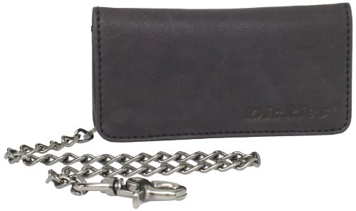 Dickies Men's Bifold Chain Wallet-High Security with ID Window and Credit Card Pockets, Black Tucker, One Size