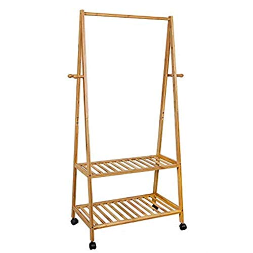 WXQ-XQ Clothing Rack Rolled Bamboo Hangers 4 Hooks With 2 Shelves For Shoe Hats And Scarves For Corridor Living Room Rooms for Bedroom Laundry Room (Color : Photo Color, Size : Classic 70 cm strip)
