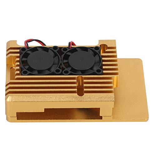 Hyuduo1 Estuche para Raspberry Pi, Caja de protección de aleación de Aluminio para Raspberry Pi 3 Modelo 2b / 3b Accesorio para Estuche de disipación de Calor con Ventilador de enfriamiento Doble