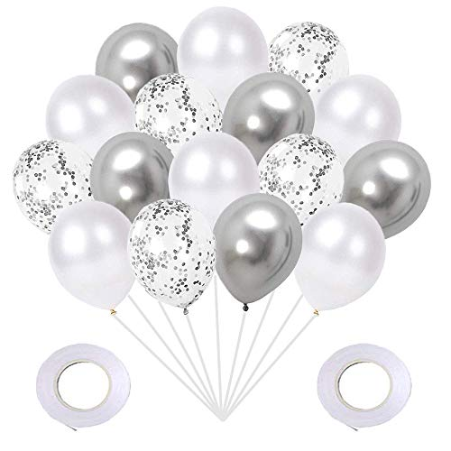 Metallic Silver Pearl White Silver Confetti Balloons Set(60Pack), 12Inch Latex Glitter Balloons Birthday Baby Bridal Shower Wedding Party Decorations
