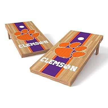 Wild Sports NCAA College Clemson Tigers 2' x 4' Hardwood Authentic Cornhole Game Set