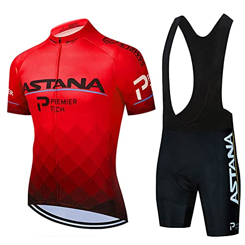 AIISHY Ropa Ciclismo Hombre Verano Trajes de Ciclismo Equipacion Bicicleta Maillot MTB+ Culote Bicicleta 3D Badana Gel,Rojo,XL