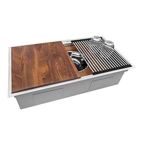 Ruvati 33-inch Workstation Ledge Kitchen Sink Undermount 16 Gauge Stainless Steel - RVH8222