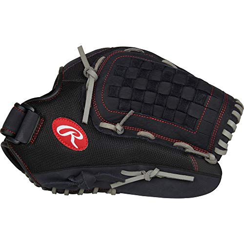 "Rawlings Renegade 14"" Softball, FB/Basket R140BGS-6/0 Gloves, Right Hand Throw, Black/Grey"