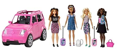 Barbie SUV Girls Road Trip Play Set with 4 Dolls