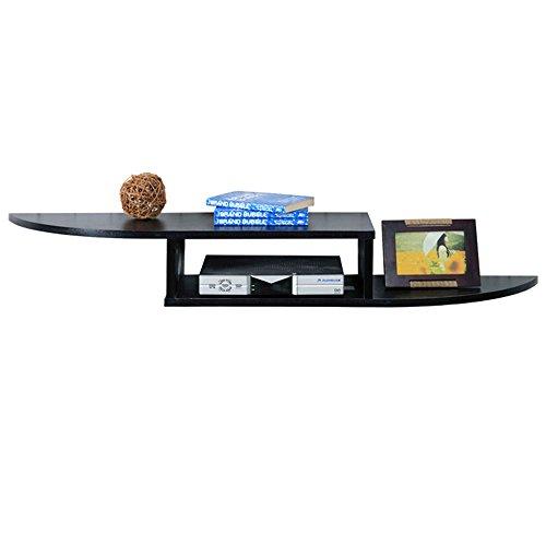 FEI Wandplank voor dvd-componenten, set topdozen, kabeldozen, stroomapparaten en DVR's met zwart glazen plank