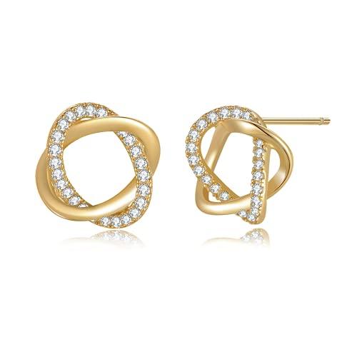 Immobird Pendientes de oro de plata de ley 925 para mujer con brillantes circonitas