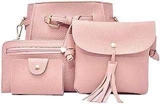 TOOGOO 4Pcs Women Handbag Bags Set Synthetic Leather Clutch Purse Shoulder Messenger Bag, Pink