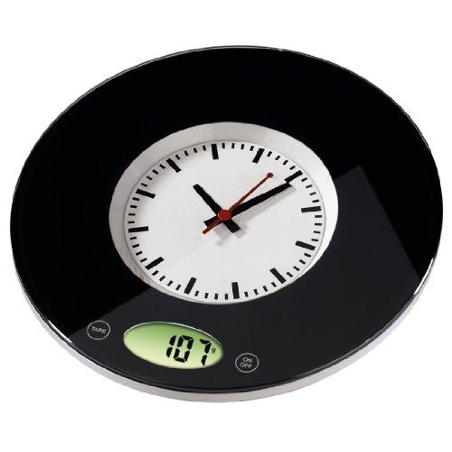 """Xavax digitale Küchenwaage \""""Pauline\"""" mit Uhr als Wiegefläche, geeignet zur Wandbefestigung, schwarz"""