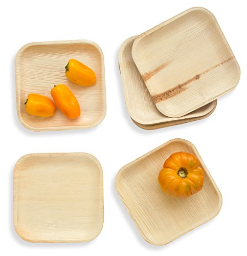 Leafily Palm Leaf Plates - 7 inch Square - Heavy Duty - Elegant - 100% Compostable - Better than Bamboo or Wood - Disposable - Biodegradable - Premium Party Plates - USDA Certified - 22 Count