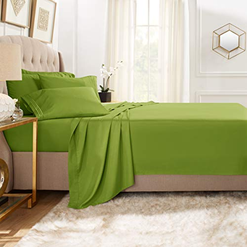 Clara Clark Premier 1800 Collection Bed Sheet Set with Extra Pillowcases Wrinkle, Fade & Stain Resistant, Full, Calla Green