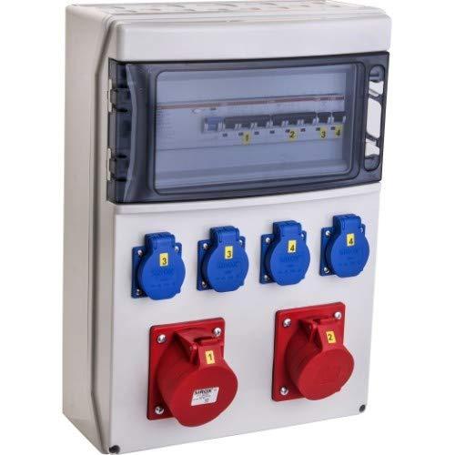 """VOTHA® Wandverteiler - verdrahtet""""WERSAU"""" mit FI-Schalter Steckdose 230 V~ 4, CEE 16 A, 400 V~ 1, CEE 32 A, 400 V~ 1, LS 16 A, 1-polig, C 2, LS 16 A, 3-polig, C 1, LS 32 A, 3-polig, C 1"""