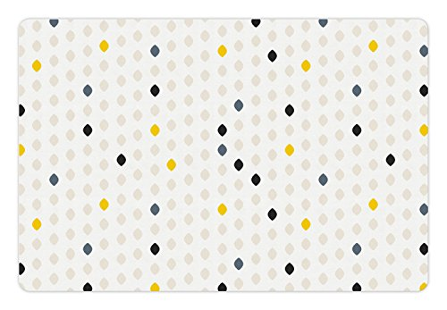 Ambesonne Modern Pet Mat for Food and Water, Modern Geometric Shapes Polka Dot Tear Drop Forms Pattern Graphic Art Print, Non-Slip Rubber Mat for Dogs and Cats, 18' X12', Yellow Beige
