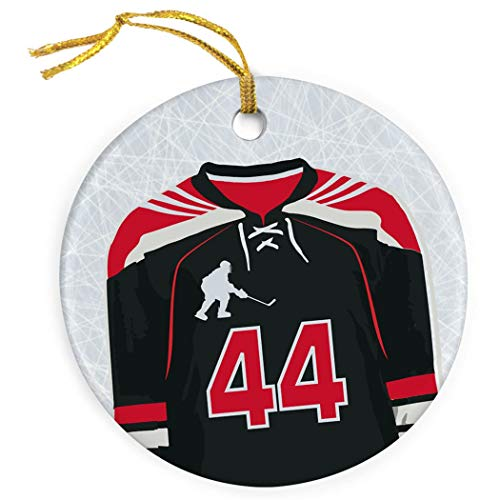 Mesllings Personalisiertes Hockey-Ornament, Porzellan, Hockey-Jersey, Rot