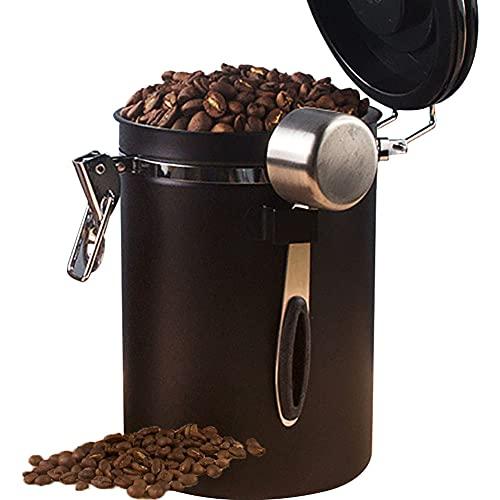 Bote café hermetico, Recipiente Hermético Sellado al Vacío con Cuchara, Recipiente para Café, té, Dulces, Especias, Tarros de Acero Inoxidable para Conservas de Café,Black,1.2L