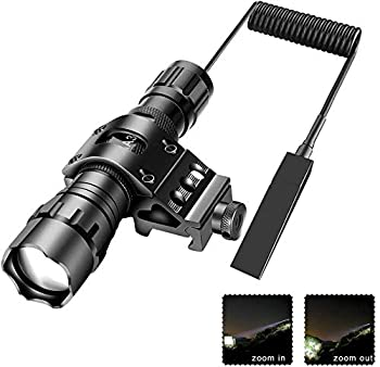 Tactical Flashlight Zoomable 1200 Lumens Waterproof with Mount Rechargeable Battery Pressure Switch Self Defense Camping
